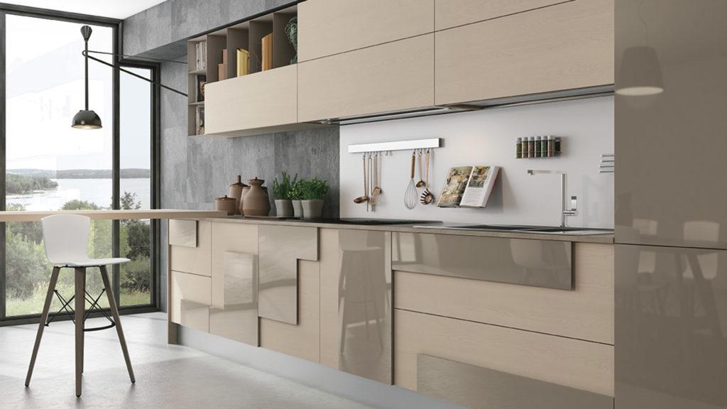 Креативный дизайн кухни – накладной фасад бежевый