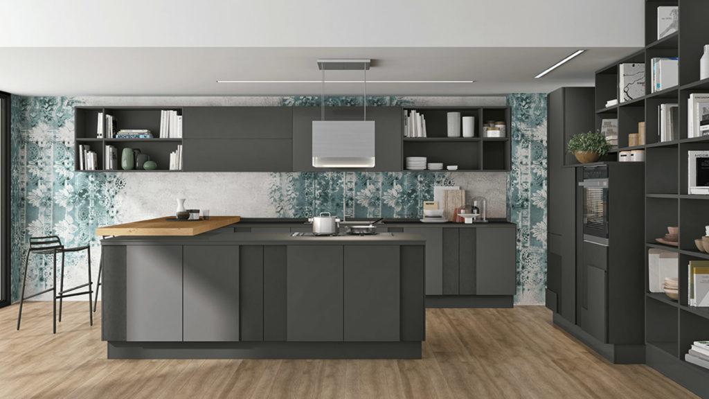 Креативный дизайн кухни – серый