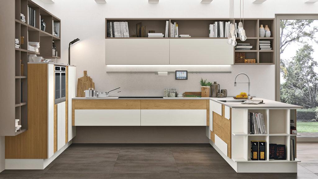 Кухня белый и дуб