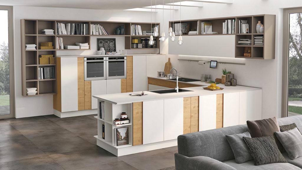 Креативный дизайн кухни – накладной фасад дуб