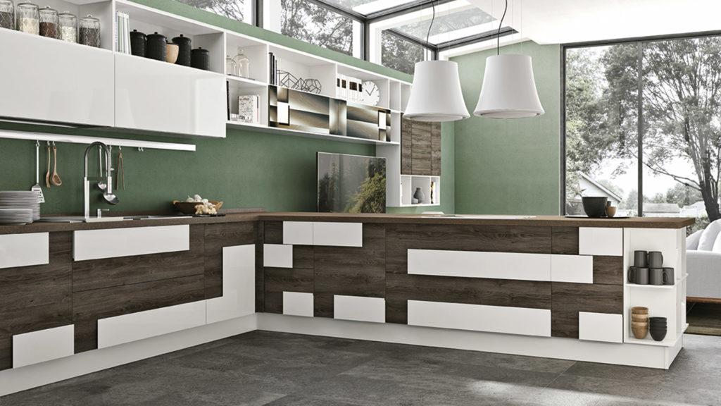 Креативный дизайн кухни – накладной фасад темный дуб