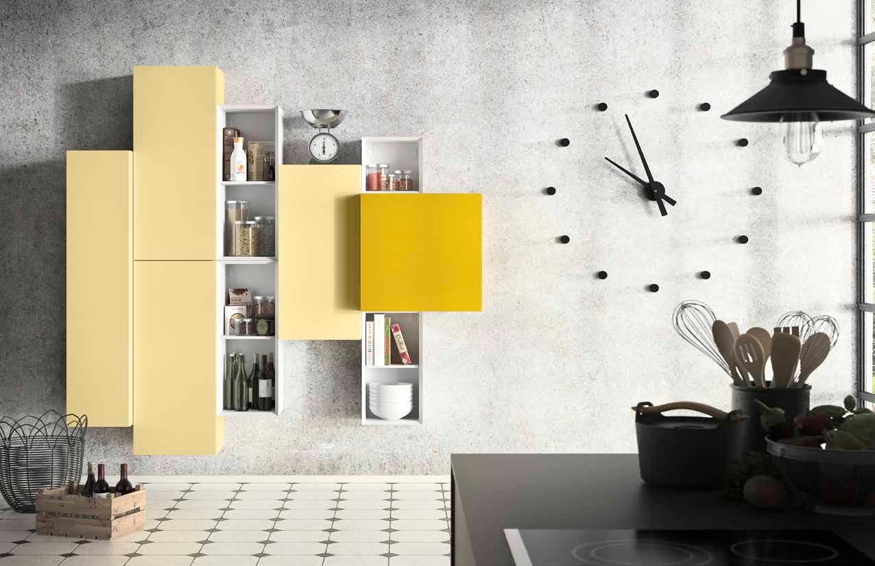 желтые акценты в интерьере стенка
