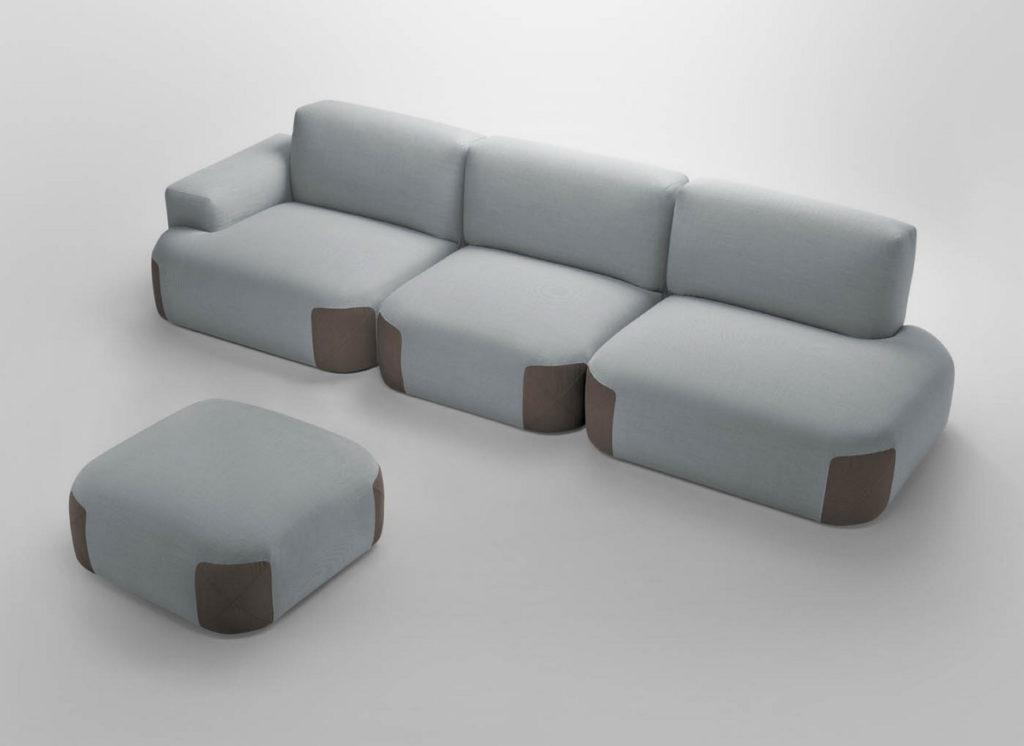 Комбинированный диван – ткань и кожа